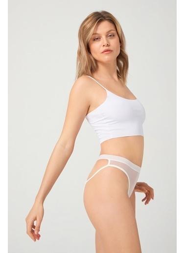 Cottonhill Vişne Önü Transparan Lastik Detaylı Taş Işleme Kadın Bikini Külot Krem